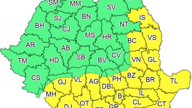 Avertizare meteo: cod galben de caniculă în 22 de județe și în București. Vor fi 38 de grade Celsius și nopți tropicale