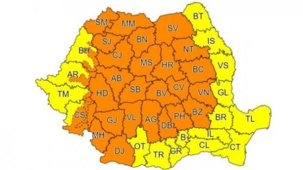 ATENŢIONARE METEO. Cod PORTOCALIU de instabilitate atmosferică şi ploi în România