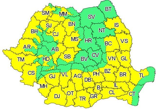 Cod galben de caniculă până pe 31 iulie. Harta cu județele afectate