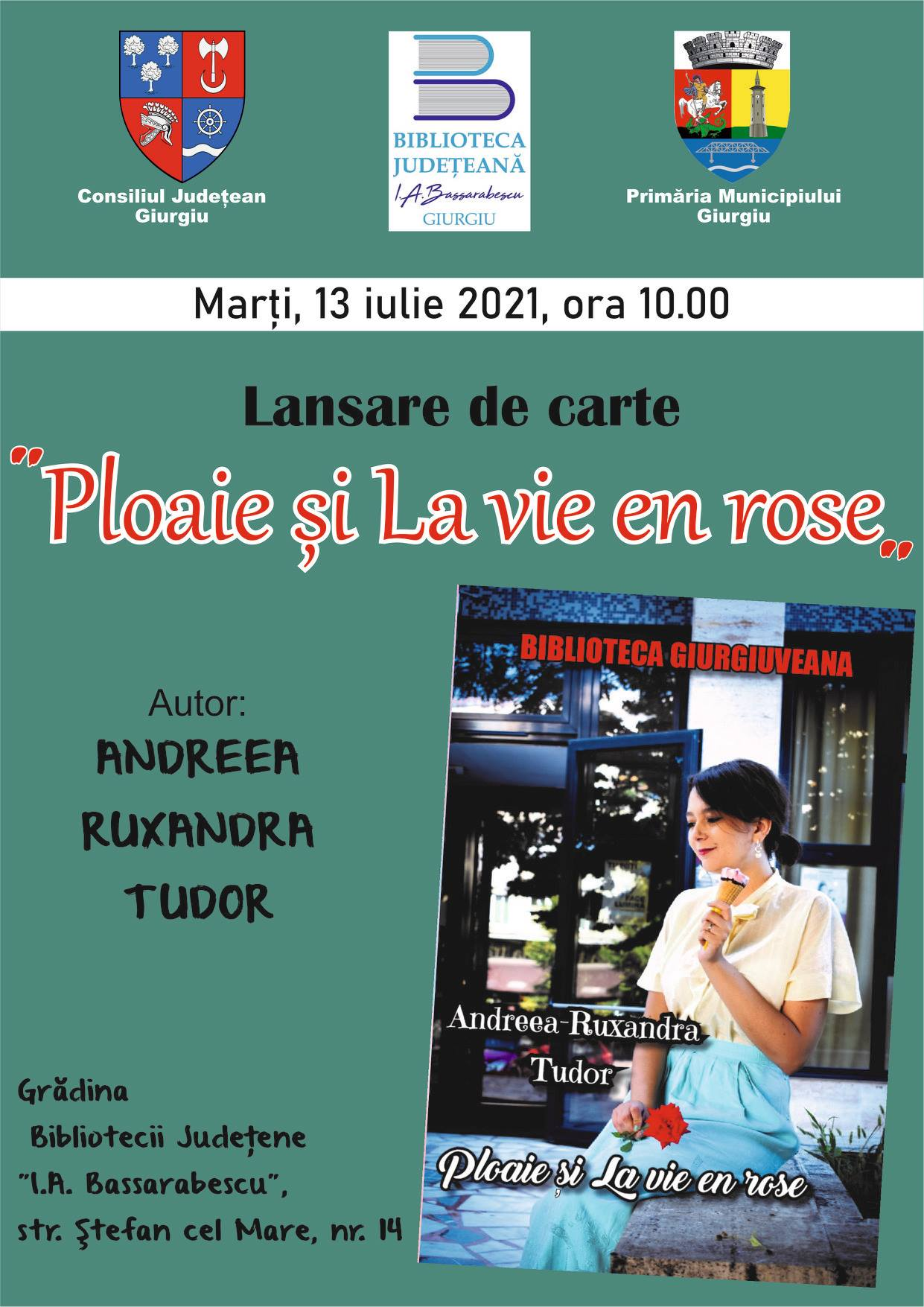 Lansare de carte marţi, 13 iulie la Biblioteca I.A.Bassarabescu