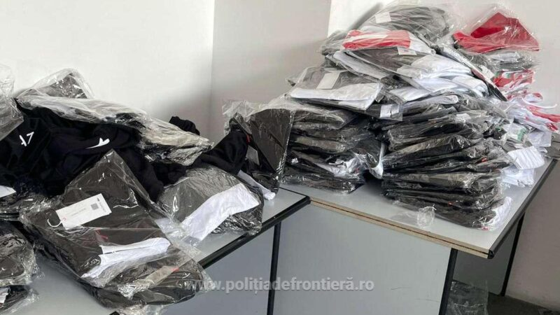 Sute de articole vestimentare, susceptibile a fi contrafăcute, descoperite de polițiștii de frontieră din cadrul P.T.F. Giurgiu