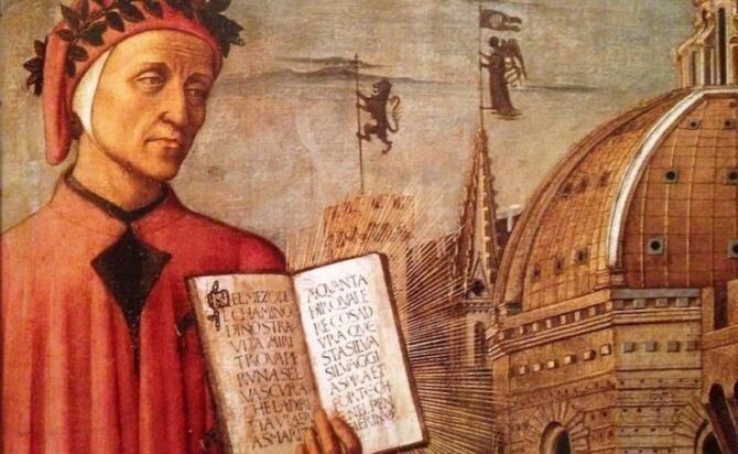 """700 de ani de la trecerea în neființă a poetului și filosofului italian DANTE ALIGHIERI, cel mai mare scriitor european din Evul Mediu, autor al """"Divinei Comedii"""", capodoperă a literaturii universale"""