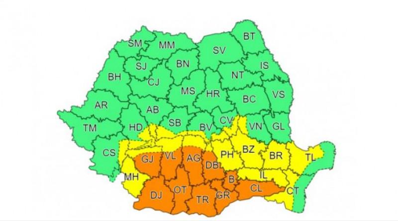 Alertă meteo 14 octombrie 2021. Cod portocaliu de ploi puternice în București și 10 județe